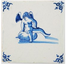 Antique Delft tile in blue with Cupid sitting on top of an apple, 17th century