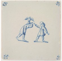Antique Delft tile in blue with two children and a tame owl, 18th century