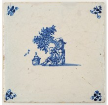 Antique Delft tile with two men catching birds for the rich, 17th century