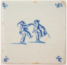 Antique Delft tile in blue with two men dancing and singing, 17th century