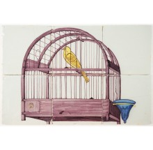 Antique Delft tile mural with a beautiful purple bird cage with a yellow canary, late 18th century
