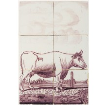 Antique Delft tile mural in manganese with a cow, 19th century