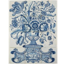 Antique Delft tile mural with a richly decorated flower vase, 18th century Harlingen