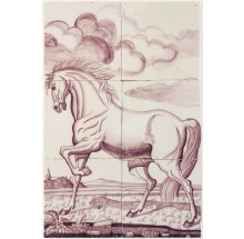 Antique Delft tile mural in manganese with a stallion, 18th century