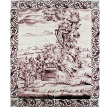 Antique Delft tile mural depicting Jesus and the Samaritan woman, 18th century