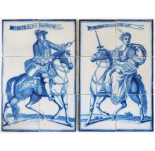 Set of two antique Delft tile murals depicting the Prince and Princess of Orange, 19th century Rotterdam
