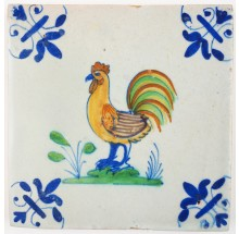 Antique Delft tile with a mesmerizing polychrome rooster, 17th century