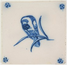 Antique Delft tile with a distracted bird on a twig, 18th century