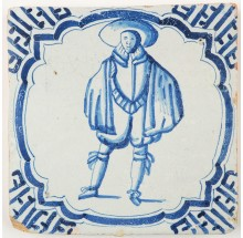 Antique Delft tile in blue depicting a gentleman, 17th century