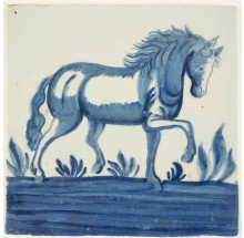 Antique Delft tile in blue with a Frisian horse, 18th century Harlingen