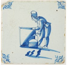 Antique Delft tile in blue with a mason in blue, 17th century