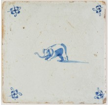 Antique Delft tile in blue with a playful elephant, 17th century