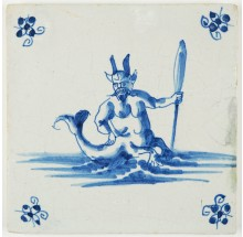 Antique Delft tile in blue with a Sea Devil or a Satyr as a merman, 17th century