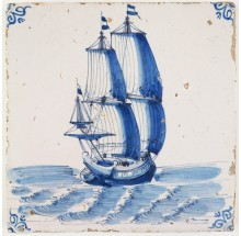 Antique Delft tile in blue with a tall ship under full sail, 17th century Harlingen