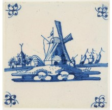 Antique Delft tile in blue with a windmill in a typical Dutch landscape, 18th century