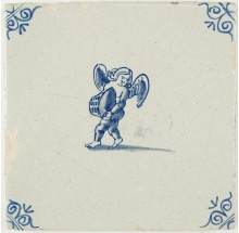 Antique Delft tile with Cupid holding a basket, 17th century