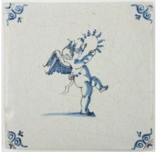 Antique Delft tile with Cupid holding a laurel wreath, 17th century