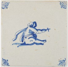 Antique Delft tile depicting the infant St. John the Baptist, 17th century