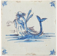 Antique Delft tile with Triton roaming the seas with his trident and horn, 17th century