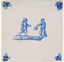 Antique Delft tile in blue with two children playing a game of hopscotch, 18th century