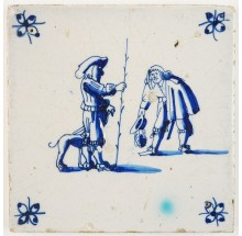 Antique Delft tile with two gentlemen greeting each other, 17th century Harlingen Pyter Grauda