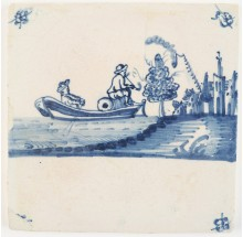 Antique Delft tile with two men on a boat transporting goods while smoking a tobacco pipe, 18th century