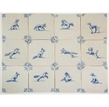 Antique Delft wall tiles in blue with all kinds of animals, 17th century