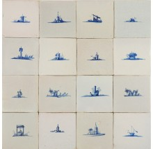 Antique Delft wall tiles with small landscape scenes in blue, 17th century