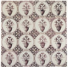 Antique Delft wall tiles in manganese with tall flower pots, 18th and 19th century