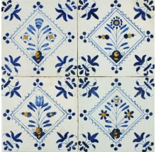 Antique Delft wall tiles with flowers in a diamond square, original 17th century