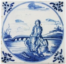 Antique Dutch Delft biblical tile in blue with Moses in the basket, 18th century