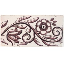 Antique Delft border tile in manganese with a rose and a tulip, 18th century