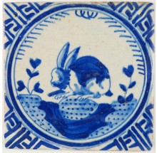 Antique Dutch Delft tile in blue with a rabbit in Wanli, 17th century