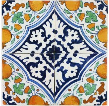 Antique Dutch Delft ornamental wall tiles with Orange Apples, 17th century