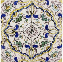 Antique Dutch Delft polychrome ornamental wall tiles known as English Chintz, 19th century