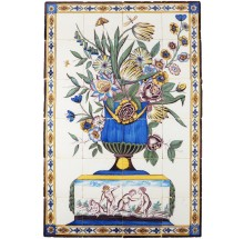 Antique Delft tile mural with a stunning polychrome flower vase and four putti playing a game of blind man's buff, 19th century Utrecht