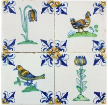 Extraordinary field of original polychrome antique Dutch Delft tiles with birds and flowers, 17th century