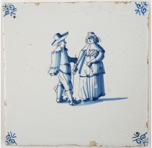 Antique Delft tile with a wealthy couple, 17th century Harlingen