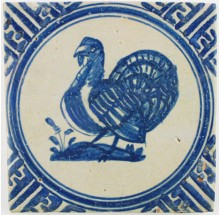 Dutch Delft tile in blue depicting a turkey in Wanli