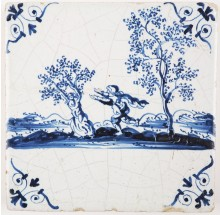 Antique Delft tile depicting the mythology scene of Daphne and Apollo, 17th century
