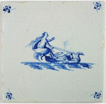 Antique Dutch Delft tile depicting Fortuna on a sea shell being pulled by a swan
