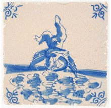 Antique Delft tile with Icarus falling in the Icarian Sea - Greek mythology, 17th century