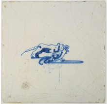 Antique Delft tile in blue depicting a fox catching a rooster, 17th century