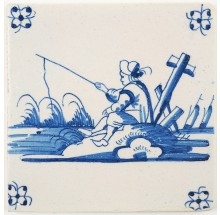 Antique Delft tile landscape tile with a man fishing, 18th century
