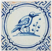 Antique Dutch Delft tile with a kingfisher in blue, 17th century