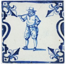Antique Dutch Delft tile in blue with a man smoking a tobacco pipe, 17th century