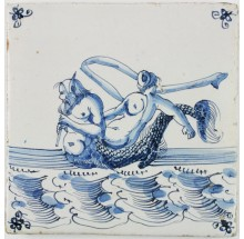Antique Dutch Delft tile with a merman and Fortuna, 17th century