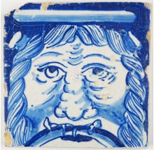 Antique Dutch Delft tile in blue with the portrait of a savage man, 17th century