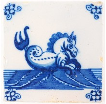 Antique Delft tile in blue with a seahorse, 18th century
