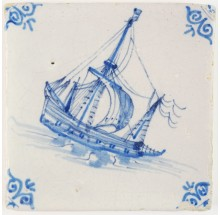 Antique Delft tile in blue with a ship under sail encountering large waves, 17th century
